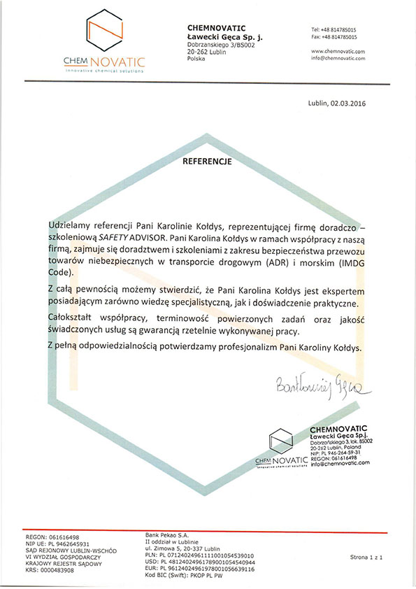 Referencje Chemnovatic Ławecki Gęca Sp.J.